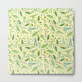 Tropical yellow green abstract leaves floral pattern Metal Print
