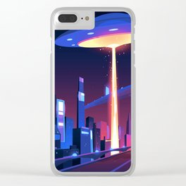 Synthwave Neon City #18 Clear iPhone Case