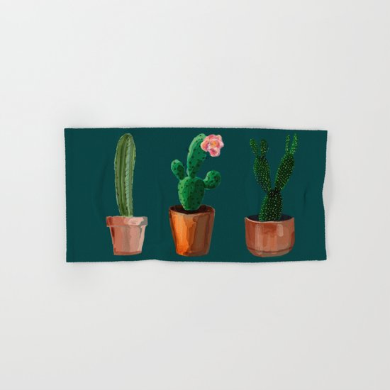 Three Cacti On Green Background Hand & Bath Towel