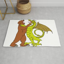 Chinese Dragon Fighting Grizzly Bear Drawing Color Rug
