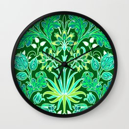 William Morris Hyacinth Print, Emerald Green Wall Clock