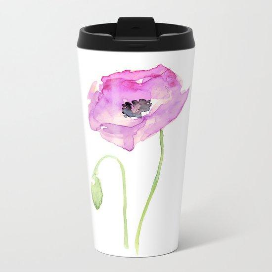 Flower Purple Poppy Floral Watercolor Metal Travel Mug