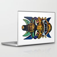chinese Laptop & iPad Skins featuring Chinese Mask by Ron (Rockett) Trickett