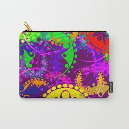 Texture of bright colorful gears and laurel wreaths in kaleidoscope style on a lilac background. Carry-All Pouch