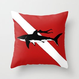 DIVER DOWN - great white shark dive Throw Pillow