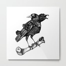 Two headed crow & Bone illustration Metal Print