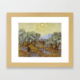Vincent van Gogh - Olive Trees with Yellow Sky and Sun Framed Art Print