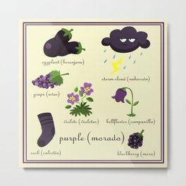 Colors: purple (Los colores: morado) Metal Print