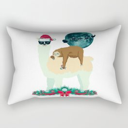 Llama Sloth Christmas Santa's Sleigh Silhouette In Front Of The Moon Rectangular Pillow