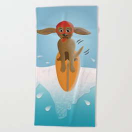 Surf Dog on Top of the Wave Beach Towel