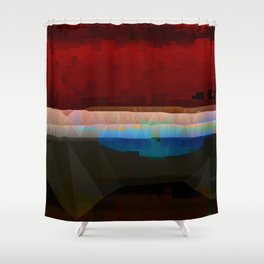 Red Pattern Digital Abstract Shower Curtain