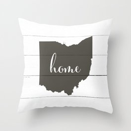 Ohio is Home - Charcoal on White Wood Throw Pillow