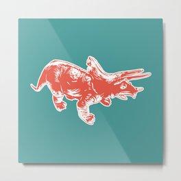 Dino Pop Art - Triceratops - Teal & Dark Orange Metal Print