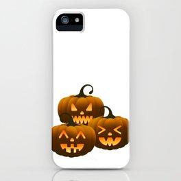 Three different halloween pumpkins iPhone Case