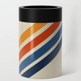 Rainbow 70s 60s Stripe Colorful Rainbow Tan Retro Vintage Can Cooler