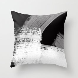 modern painterly brush strokes texture in bw Throw Pillow