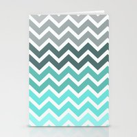 grey Stationery Cards featuring Tiffany Fade Chevron Pattern by RexLambo