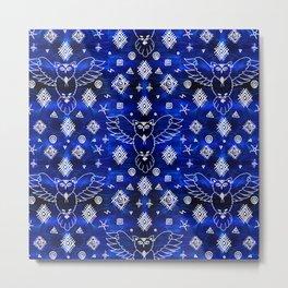 Trypillian Mystic Owl - Ancient Folk Ornament - Ethnic - Blue Metal Print