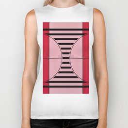 August - mirror line graphic Biker Tank