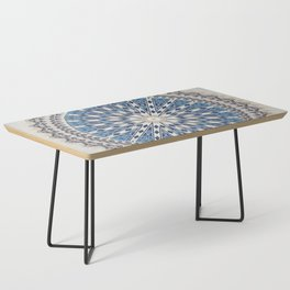 Bright Blue Marble Mandala Design Coffee Table