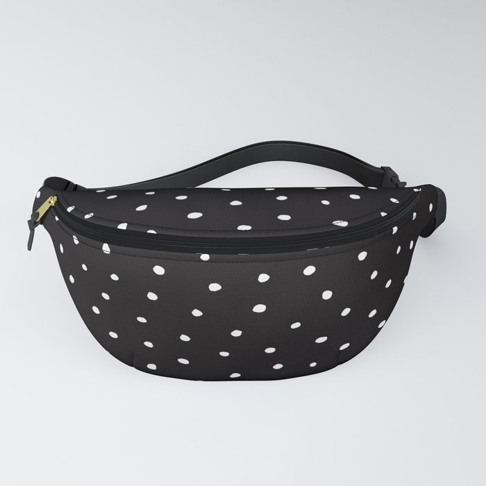 Minimal- Small white polka dots on black - Mix & Match with Simplicty of life Fanny Pack