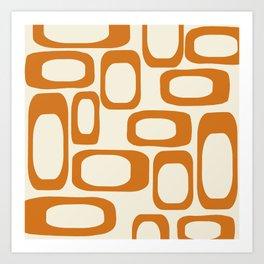 Mid Century Modern Shapes 1970s Orange #society6 #buyart  Art Print