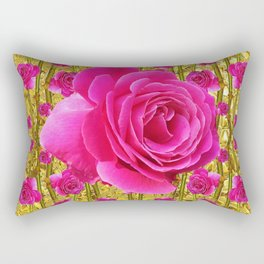 "FUCHSIA PINK ""ROSES & THORNS""  GOLD ART  ROSE  PATTERNS Rectangular Pillow"