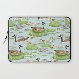 Graceful Geese and Gorgeous Goslings in Crisp Spring Weather Laptop Sleeve