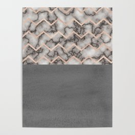 Painted Marble - Black and Rose Gold Poster
