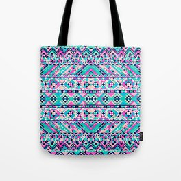 Girly Aztec Neon Pink Teal Andes Tribal Pattern Tote Bag