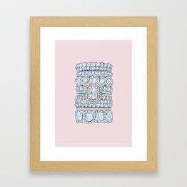 Diemond Rings on Light Pink Framed Art Print