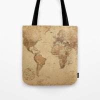 vintage map Tote Bags featuring VINTAGE MAP by Oksana Smith