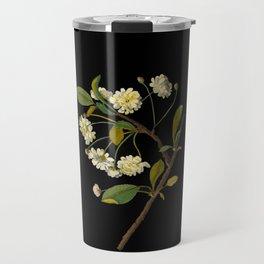 Prunus Cerasus Mary Delany Delicate Paper Flower Collage Black Background Floral Botanical Travel Mug