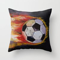 soccer Throw Pillows featuring Soccer by Michael Creese