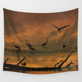 Herons at Sunset II Wall Tapestry