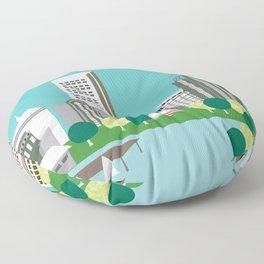 Boston, Massachusetts - Skyline Illustration by Loose Petals Floor Pillow