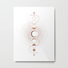 Moon Variations in White Metal Print