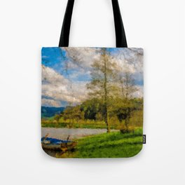 Boat on Water Tote Bag