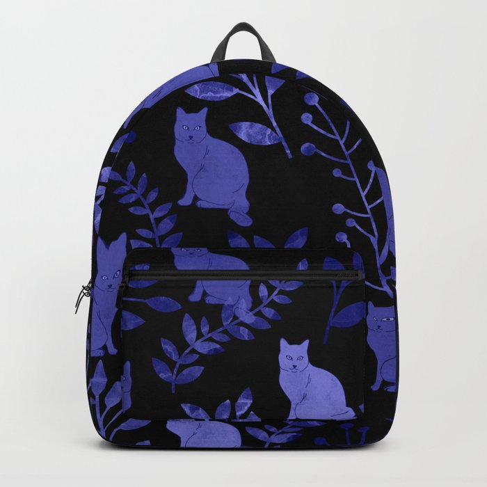 Watercolor Floral and Cat Backpack