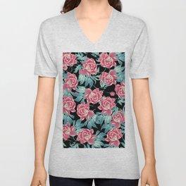 Pink Flowers on Black Unisex V-Neck