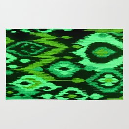 MODERN IKAT TRIBAL PATTERN | green Rug