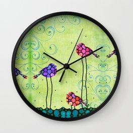 Three Birds - Spring Art By Sharon Cummings Wall Clock