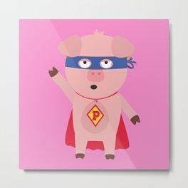 Superhero Pig  Bmo2d Metal Print