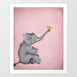 A Little Birdie Told Me - Elephant and Bird Art Print