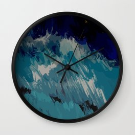 Painting of the wave at the night in a abstract and expressionist way Wall Clock