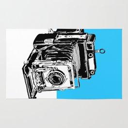 Vintage Graphex Camera Pop Art print in electric blue Rug