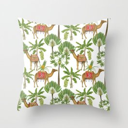 Camels and palms Throw Pillow