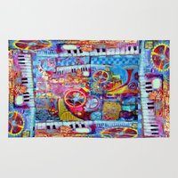 steam punk Area & Throw Rugs featuring Abstract Steam Punk Music Collage by SharlesArt