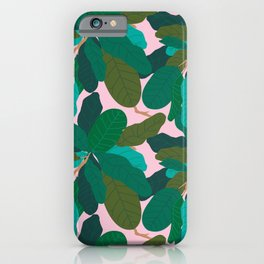 Tropicana Banana Leaves in Classic Pink iPhone Case