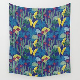 Tropical blue pattern Wall Tapestry
